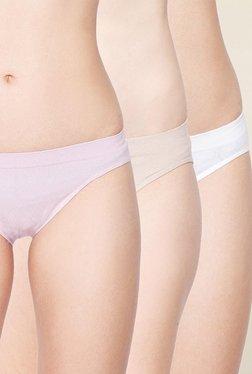 C9 Pink, Beige & White Solid Bikini Panties (Pack Of 3)