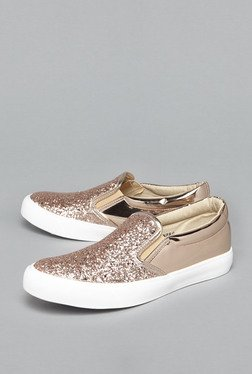 Head Over Heels by Westside Rose Gold Glitter Plimsolls