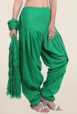 Jaipur Kurti Green Solid Patiala Salwar With Dupatta