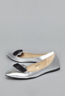 Head Over Heels by Westside Silver Bow Flat Shoes
