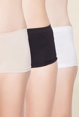 C9 Beige, Black & White Solid Boyshort Panties (Pack Of 3)