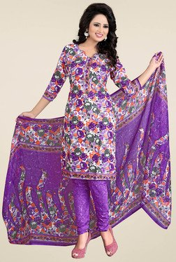 Ishin Purple Floral Printed Dress Material