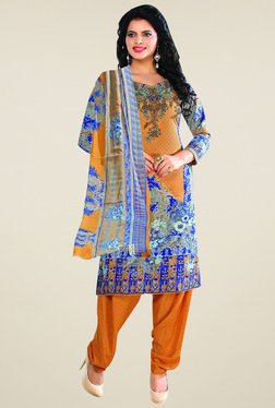 Ishin Orange & Blue Printed Unstitched Dress Material