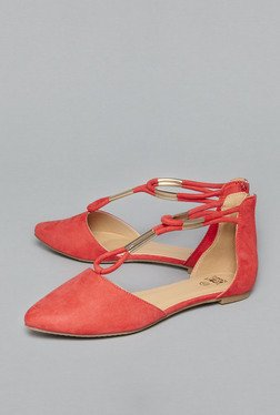 Head Over Heels by Westside Red Ankle Strap Ballet Flats