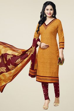 Ishin Yellow & Red Printed Cotton Dress Material