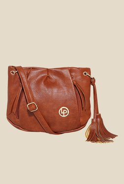 Lino Perros Brown Side Fringed Sling Bag