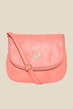 Lino Perros Pink Solid Zippered Sling Bag