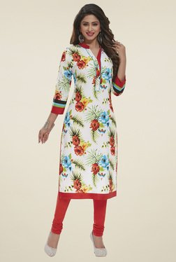 Salwar Studio White & Red Floral Printed Unstitched Kurti