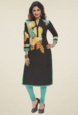 Salwar Studio Black Floral Printed Unstitched Kurti