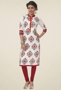 Salwar Studio Red & Off-White Printed Kurti