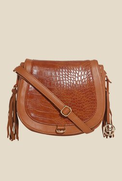 Lino Perros Brown Textured Saddle Bag