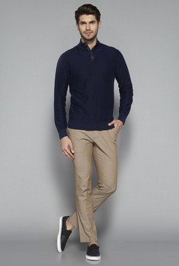 Ascot by Westside Navy Textured Slim Fit T Shirt