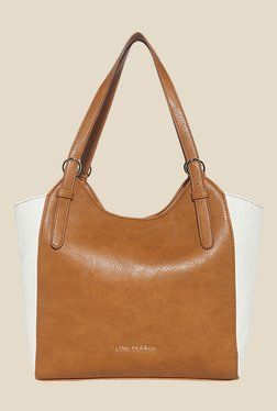 Lino Perros Brown And White Solid Shoulder Bag