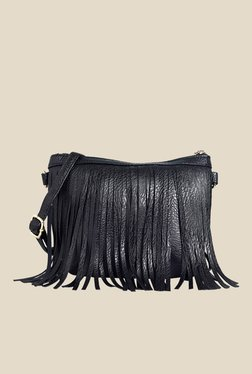 Lino Perros Black Fringe Sling Bag