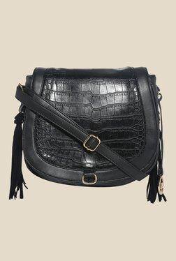 Lino Perros Black Textured Saddle Bag