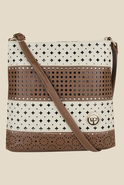 Lino Perros Brown Laser Cut Work Sling Bag