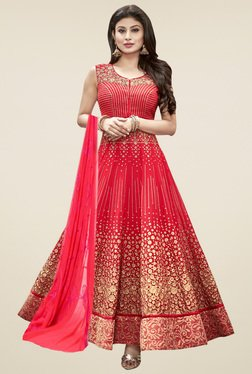 Thankar Red Embroidered Semi Stitched Anarkali Suit