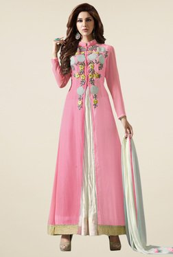 Thankar Pink & White Embroidered Salwar Suit