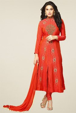 Thankar Red Embroidered Salwar Suit With Dupatta