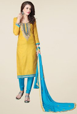 Thankar Yellow & Grey Embroidered Salwar Suit