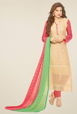 Thankar Cream & Pink Embroidered Semi Stitched Salwar Suit