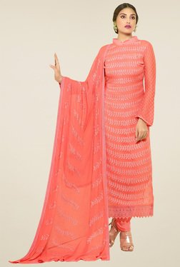 Thankar Peach Embroidered Salwar Suit With Dupatta