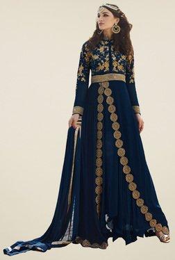 Thankar Navy Embroidered Anarkali Suit