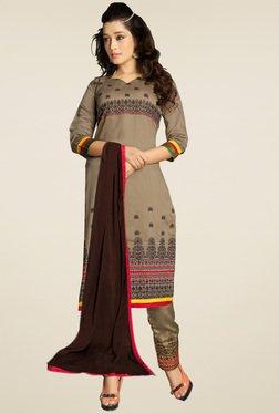Thankar Brown Embroidered Salwar Suit Set