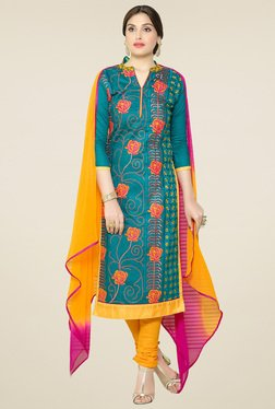 Thankar Teal Embroidered Cotton Salwar Suit With Dupatta