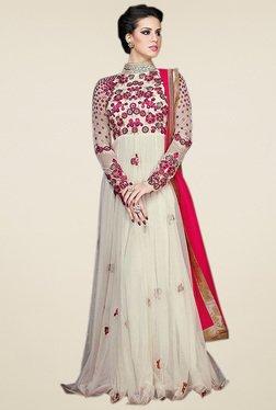 Thankar Off-White Net Embroidered Anarkali Set