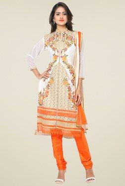 Thankar White Embroidered Salwar Suit With Dupatta