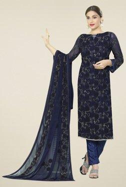 Thankar Navy Embroidered Salwar Suit With Dupatta
