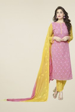 Thankar Pink Embroidered Salwar Suit With Dupatta