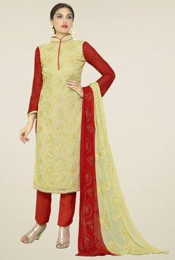 Thankar Beige Embroidered Salwar Suit With Dupatta