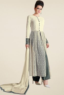 Thankar Off-White Floral Anarkali Set With Dupatta