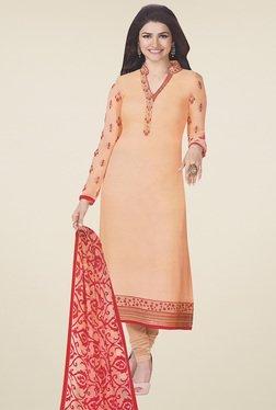 Thankar Orange Embroidered Salwar Suit With Dupatta