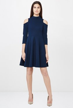 AND Navy Band Neck Dress
