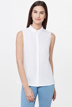 AND White Solid Shirt Top