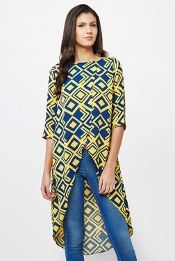 AND Yellow & Navy Printed Tunic