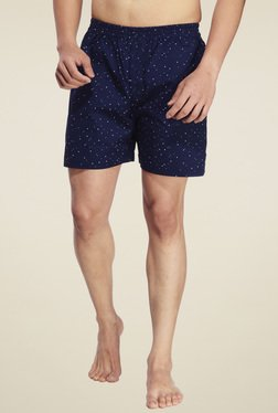 Ennoble Navy Printed Regular Fit Cotton Boxers