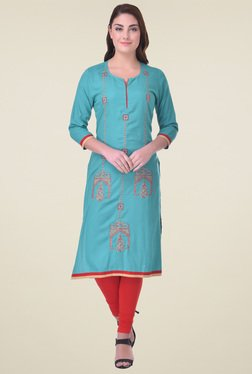 Indi Dori Turquoise Round Neck Embroidered Kurta