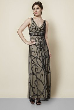 FG4 London Camilla Black & Beige Embroidered Dress