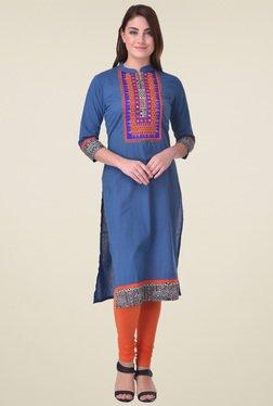 Indi Dori Blue Embroidered Cotton Kurta