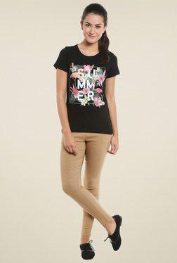 Loco En Cabeza Black Round Neck T-Shirt