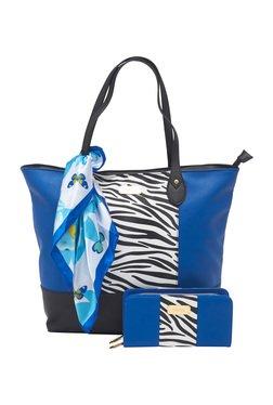 Esbeda Blue Zebra Printed Tote Bag With Wallet & Scarf
