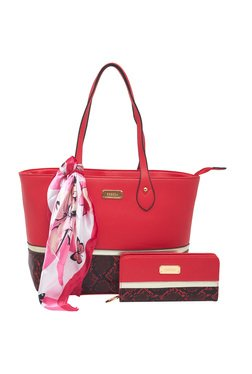 Esbeda Red Python Printed Tote Bag With Wallet & Scarf