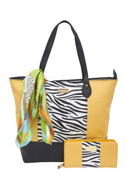 Esbeda Yellow Zebra Printed Tote Bag With Wallet & Scarf