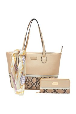 Esbeda Golden Python Printed Tote Bag With Wallet & Scarf