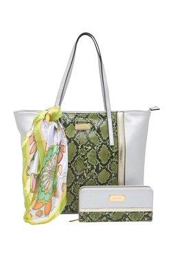 Esbeda Silver Snake Printed Tote Bag With Wallet & Scarf