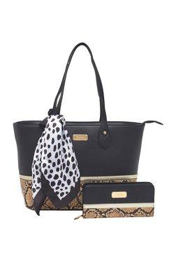 Esbeda Black Python Printed Tote Bag With Wallet & Scarf